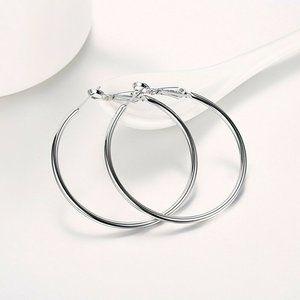 """Jewelry - 14K White Gold Filled Hoop Earrings 50mm 1.96"""""""